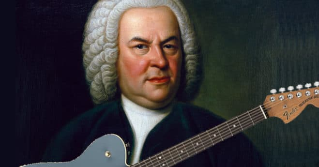 """Bach To Rock"" showing JS Bach with Electric Guitar"